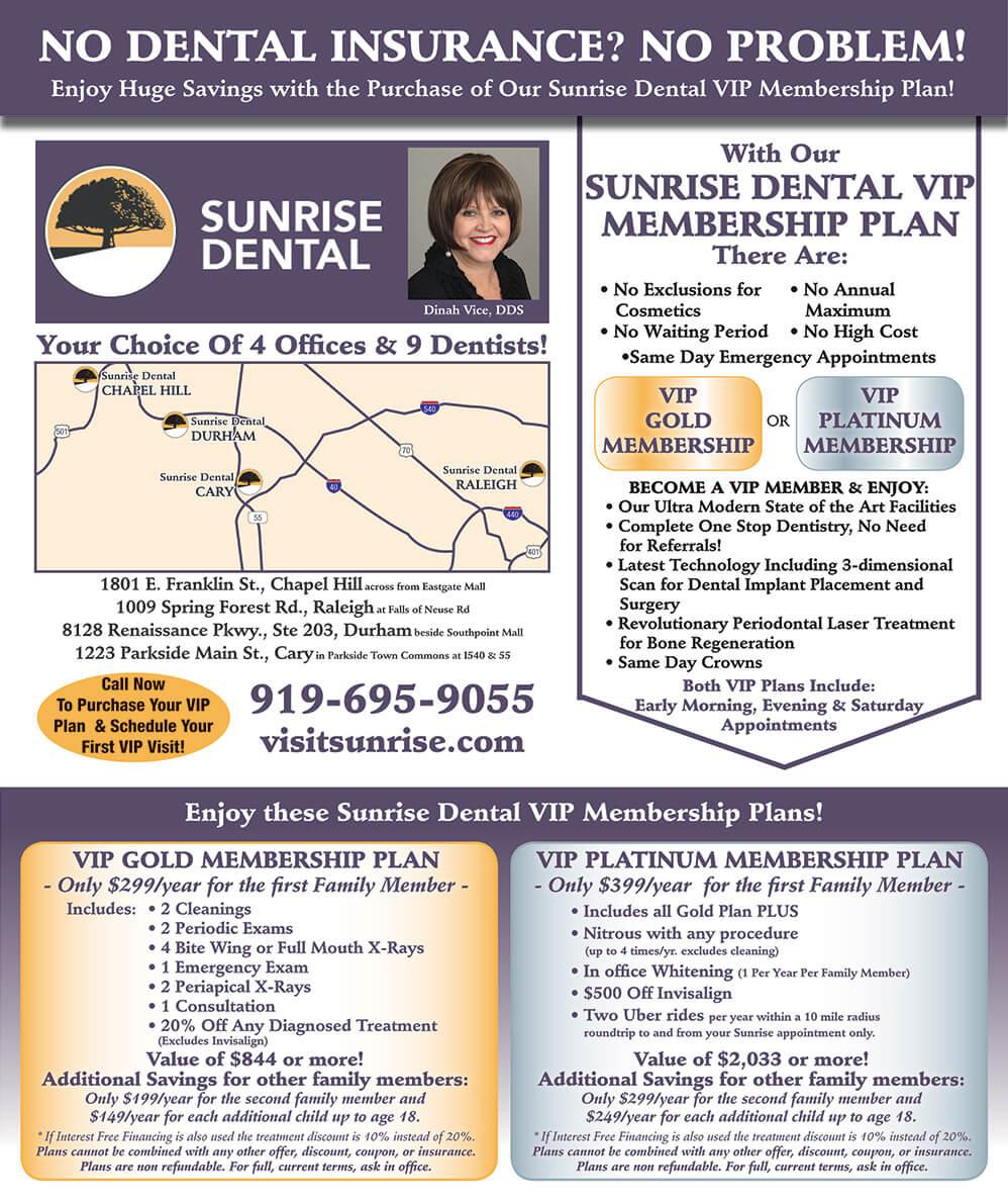 VIP Membership __Sunrise Dental | Chapel Hill | Durham | Raleigh | Cary, NC